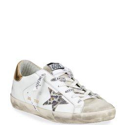 Golden Goose Superstar Leo-Star Leather Low-Top Sneakers   Neiman Marcus