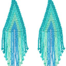 Luluping Long Beaded Dangle Earrings – Boho Native Handmade Seed Bead Tassel Earrings for Women... | Amazon (US)