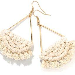 Bohemian Handmade Fringe Tassel Dangle Drop Statement Earrings for Women | Amazon (US)