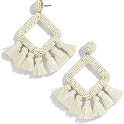 Women's Beaded Tassel Earrings Statement Fringe Drop Bohemian Chandelier Earrings Geometric Dangl... | Amazon (US)