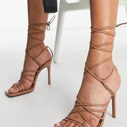 ASOS DESIGN Nina strappy tie leg heeled sandals in beige   ASOS (Global)