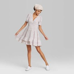 Target/Women/Women's Clothing/DressesWomen's Short Sleeve Plunging Smocked Waist Dress - Wild ... | Target