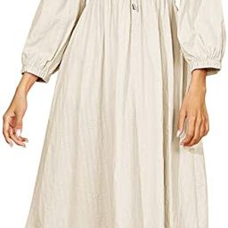 Women's Linen Fall Long Sleeves Stripes Ruffled Boho Casual A-Line Flowy Midi Dresses | Amazon (US)
