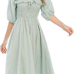 Women Summer Half Sleeve Cotton Ruffled Vintage Elegant Backless A Line Flowy Long Dresses | Amazon (US)