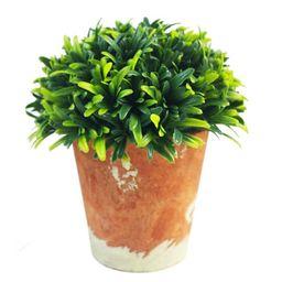"Artificial Potted Plant 5"" Green Mini Plastic Artificial Plants Faux Topiary | Walmart (US)"