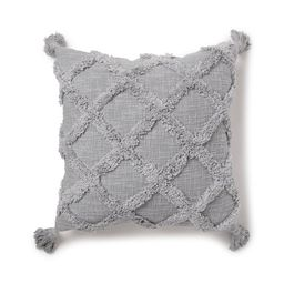 "Better Homes & Gardens Tufted Trellis Decorative Throw Pillow, 20"" x 20"", Soft Silver | Walmart (US)"