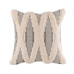 "Phantoscope Boho Woven Cross Tufted Series Decorative Throw Pillow, 12"" x 20"", Gray, 1 Pack | Walmart (US)"