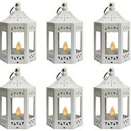 Vela Lanterns Mini Candle Lantern with Flickering LED Tea Light Candle, Batteries Included, White... | Amazon (US)