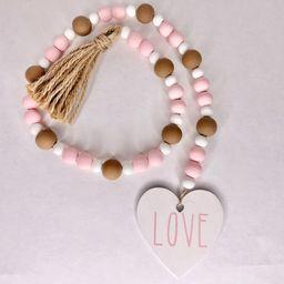 Valentine's Day Pink Brown Love wood brag garland with tassel | Etsy (US)