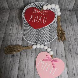 Valentine Heart Garland | Rae Dun Inspired Tier Tray Garland | Valentines Decor | Farmhouse Red P... | Etsy (US)