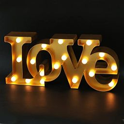 """Bright Zeal 16"""" x 7"""" Large Love Sign Light Wall Art for Bedroom (Gold) - LED Marquee Letters Ligh... 