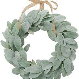 SHACOS Artificial Lambs Ear Wreath 13 inch Farmhouse Small Greenery Wreath Candle Wreath Home Wed... | Amazon (US)