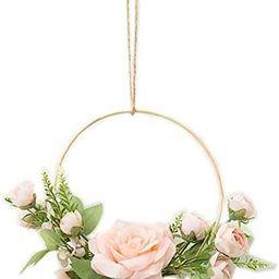 YYC 1Pcs European Chic Artificial Rose Hanging Geometric Hoop Wreath Bedroom Wall Decor Hemp Rope... | Amazon (US)