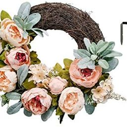 Evie Lee Home Peony Wreath | Spring Decorations for Home | Shabby Chic Wall Decor | Lambs Ear Wre... | Amazon (US)