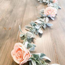 Rose and lambs ear garland-table runner-wedding decor-nursery | Etsy | Etsy (US)