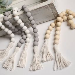 Wood bead garland with tassels farmhouse decor tiered tray | Etsy | Etsy (US)