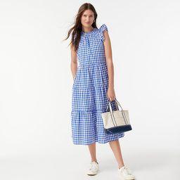 Tiered ruffle-sleeve dress in gingham | J.Crew US