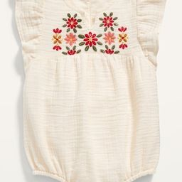 Embroidered Flutter-Sleeve Bubble One-Piece for Baby | Old Navy (US)
