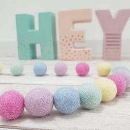 Felt pom pom garland  Felt ball garland  Pastel Rainbow Felt | Etsy | Etsy (US)