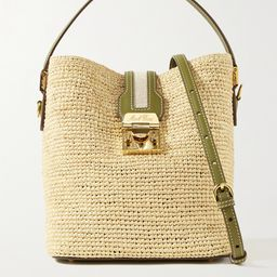 Beige Murphy large textured leather-trimmed raffia bucket bag   Mark Cross   NET-A-PORTER   Net-a-Porter (US)