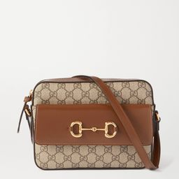 Brown 1955 small horsebit-detailed leather-trimmed printed coated-canvas shoulder bag   Gucci   N...   Net-a-Porter (US)