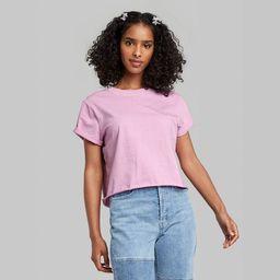 Women's Short Sleeve Roll Cuff Boxy T-Shirt - Wild Fable™ | Target