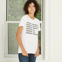 Women's Embrace Kindness Short Sleeve Graphic T-Shirt - White | Target