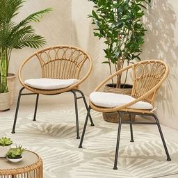 Banya Outdoor Faux Wicker Chairs (Set of 2) by Christopher Knight Home   Overstock