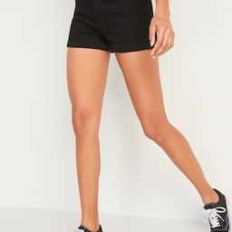 High-Waisted O.G. Cuffed Black Jean Shorts for Women -- 3-inch inseam   Old Navy (US)