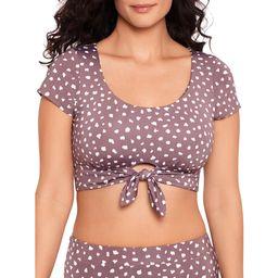 Time and Tru Women's Purple Granite Dot Crop Tee Swimsuit Top | Walmart (US)