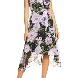 Floral Print Clip Dot Chiffon Dress | Nordstrom