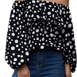 Hibluco Women's Off Shoulder Top Cute Puff Sleeve Polka Dot Ruffle Blouse   Amazon (US)