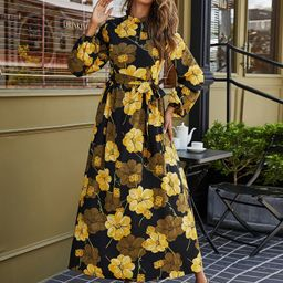 Floral Print Belted Maxi Dress   SHEIN