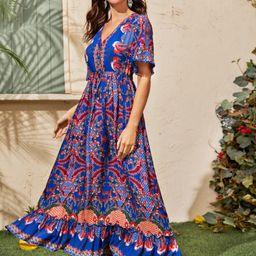 Floral & Tribal Print Frill A-line Dress | SHEIN