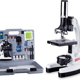 AmScope 120X-1200X 52-pcs Kids Beginner Microscope STEM Kit with Metal Body Microscope, Plastic S... | Amazon (US)