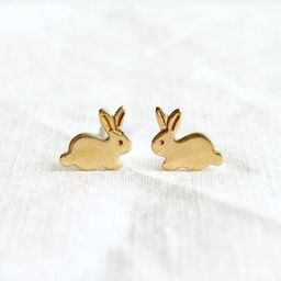 Teeny Tiny Gold Bunny stud Earrings ~ Brass Easter Rabbit Stud Earrings ~ Easter Gift ~ Simple Mo... | Etsy (US)