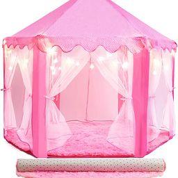 PLAYVIBE 55'' X 53'' Princess Tent for Kids - Includes Ultra Soft Rug & Star Lights   Princess Ca...   Amazon (US)