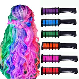 New Hair Chalk Comb Temporary Bright Hair Color Dye for Girls Kids, Washable Hair Chalk for Girls...   Amazon (US)