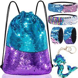 Mermaid Reversible Sequin Drawstring Backpack/Bag Blue/Purple for Kids Girls   Amazon (US)