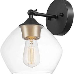Globe Electric Harrow 1-Light Wall Sconce, Matte Black, Gold Accent Socket, Clear Glass Shade 513...   Amazon (US)