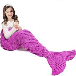 JR.WHITE Mermaid Tail Blanket for Kids, Hand Crochet Snuggle Mermaid,All Seasons Seatail Sleeping...   Amazon (US)