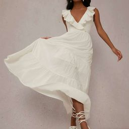 SHEIN Surplice Neck Ruffle Trim Solid Dress | SHEIN