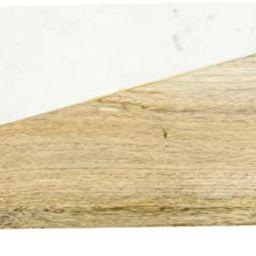 Creative Co-Op DF2367 Mango Wood & Marble Cutting Board/Serving Brass Feet Pedestal Tray, White | Amazon (US)