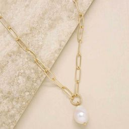 Single Pearl Open Links 18k Gold Plated Chain Necklace | Ettika