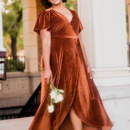 Andi Copper Ribbed Velvet Wrap Dress   Baltic Born