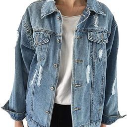 JudyBridal Oversize Denim Jacket for Women Ripped Jean Jacket Boyfriend Long Sleeve Coat | Amazon (US)