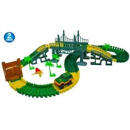 Magic Dinosaur Twisting Race Car Track - Flexible Bending Glow in The Dark Traxs w/ Dino Slot Car -  | Overstock