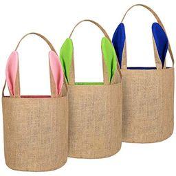 TOPLEE 3 Pack Easter Eggs Hunt Baskets for Kids Jute Burlap Bunny Ear Basket Egg Bags Rabbit East...   Amazon (US)