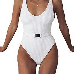 FEIYOUNG Sexy Womens Monokini Scoop Neck One Piece Backless Cheeky Swimwear Semi Thong Bikini wit... | Amazon (US)