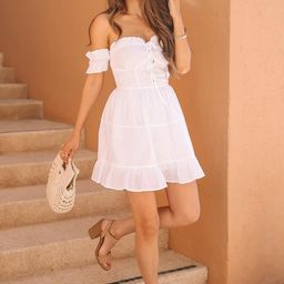 CAITLIN COVINGTON X PINK LILY The Mykonos Corset Detail Off the Shoulder White Dress | The Pink Lily Boutique